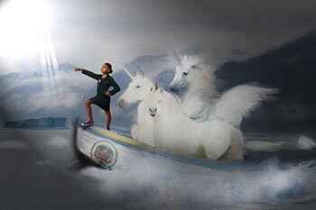 Ms. O on a boat with unicorns background